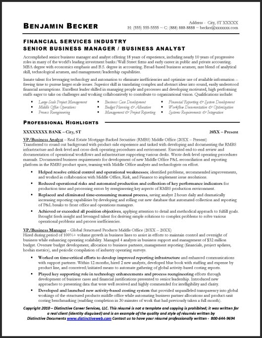 business analyst resume image