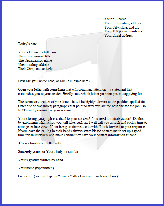 cover letter template image - What Is An Enclosure On A Cover Letter